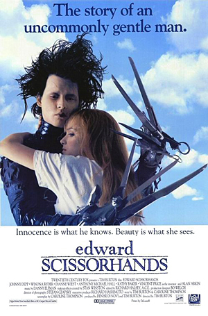 12. EDWARD SCISSORHANDS (1990) Johnny Depp, Wynona Ryder, Tim Burton. Maybe I should change the name of this list to movies that feature snow. Those ice sculptures Edward creates. I want one. I want it now, and I want it in my front yard (so everyone can see a two metre sculpture melt in under 5 minutes). Great ending to the film.